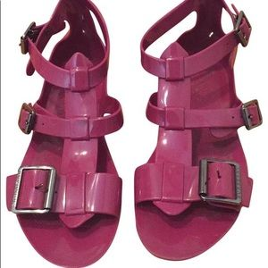 Burberry Jelly Gladiator Sandals in Berry.